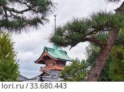 The Gionkaku tower inside the Daiun-in Temple. Kyoto. Japan. Стоковое фото, фотограф Serg Zastavkin / Фотобанк Лори