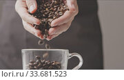 Купить «Freshly roasted coffee grains fall in glass from woman's hands.», видеоролик № 33681523, снято 31 августа 2018 г. (c) Ярослав Данильченко / Фотобанк Лори