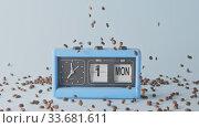 Купить «Retro clock with date and day of week and falling fragrant coffee beans.», видеоролик № 33681611, снято 31 августа 2018 г. (c) Ярослав Данильченко / Фотобанк Лори