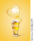 Купить «Heart splash of light beer above full glass of fresh beverage.», фото № 33682371, снято 16 января 2015 г. (c) Ярослав Данильченко / Фотобанк Лори
