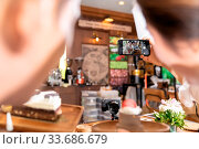 Купить «Rear view of two BLOGGER of young adult asian owner entrepreneur review cafe coffee shop for social media and online marketing in cafe. Using for startup...», фото № 33686679, снято 3 июля 2020 г. (c) easy Fotostock / Фотобанк Лори