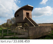 Купить «Shapwick Heath Tower Hide, Shapwick Heath National Nature Reserve, part of the Avalon Marshes, Somerset Levels and Moors, England, UK, April 2019», фото № 33698459, снято 2 июня 2020 г. (c) Nature Picture Library / Фотобанк Лори