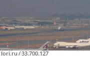 Купить «Singapore Airlines Airbus A380 departure from Hong Kong», видеоролик № 33700127, снято 10 ноября 2019 г. (c) Игорь Жоров / Фотобанк Лори