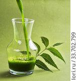 Купить «Medicinal Neem juice and leaves.», фото № 33702799, снято 30 августа 2016 г. (c) easy Fotostock / Фотобанк Лори