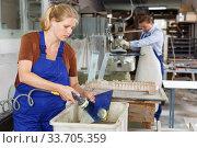 Female worker cleaning glass. Стоковое фото, фотограф Яков Филимонов / Фотобанк Лори