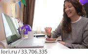 Купить «Woman celebrating birthday from home», видеоролик № 33706335, снято 19 апреля 2020 г. (c) Сергей Петерман / Фотобанк Лори
