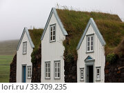 Купить «Grassodenhaussiedlung Grenjadarstadur, Gemeinde Thingeyjarsveit, Nordisland, Island, Europa», фото № 33709235, снято 3 июля 2020 г. (c) age Fotostock / Фотобанк Лори