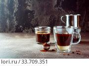 Купить «Vietnamese coffee with condensed milk in glass cups and traditional metal coffee maker phin. Traditional method of making of vietnamese coffee. Space for text.», фото № 33709351, снято 6 июня 2020 г. (c) easy Fotostock / Фотобанк Лори