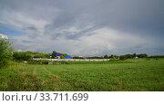 Купить «Beautiful summer rural landscape with cloudy sky», видеоролик № 33711699, снято 18 июля 2018 г. (c) Володина Ольга / Фотобанк Лори