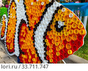 Рыба, изготовленная из пробок от пластиковых бутылок. Стоковое фото, фотограф Вячеслав Палес / Фотобанк Лори