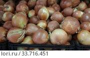 Купить «Image of boxes with onion for sale in supermarket, nobody», видеоролик № 33716451, снято 20 ноября 2019 г. (c) Яков Филимонов / Фотобанк Лори