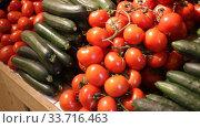 Купить «Colorful rows of fresh vegetables on market counter. Vegetable background», видеоролик № 33716463, снято 13 февраля 2020 г. (c) Яков Филимонов / Фотобанк Лори