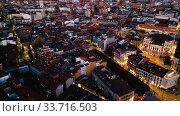 Aerial view of Valladolid at twilight. Spain (2019 год). Стоковое видео, видеограф Яков Филимонов / Фотобанк Лори