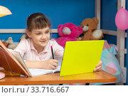 Купить «Девочка в детской комнате сидит за столом и учится онлайн», фото № 33716667, снято 21 апреля 2020 г. (c) Иванов Алексей / Фотобанк Лори