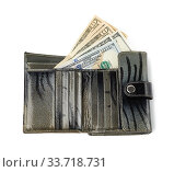 Купить «Open gray leather wallet with one hundred US dollar bills isolated on white background, wealth concept.», фото № 33718731, снято 22 апреля 2020 г. (c) easy Fotostock / Фотобанк Лори