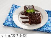 Купить «chocolate cake on a plate for fudge, and blue napkin», фото № 33719431, снято 24 мая 2013 г. (c) Tetiana Chugunova / Фотобанк Лори