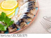 Sliced skinless cold-smoked mackerel. Стоковое фото, фотограф Яков Филимонов / Фотобанк Лори