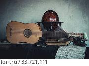 Musical still life with renaissance vihuela. Стоковое фото, фотограф Дмитрий Черевко / Фотобанк Лори