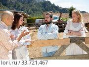 Quarrel of four friends in the country in the village. Стоковое фото, фотограф Яков Филимонов / Фотобанк Лори