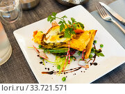 Gascony cuisine. French mozzarella di bufala pie. Стоковое фото, фотограф Яков Филимонов / Фотобанк Лори