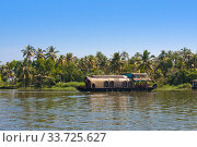 Houseboat on Kerala backwaters in Alleppey, India (2014 год). Стоковое фото, фотограф Вознесенская Ольга / Фотобанк Лори