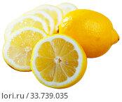 Sliced lemon on white background. Стоковое фото, фотограф Яков Филимонов / Фотобанк Лори
