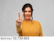 Купить «happy smiling young woman showing peace sign», фото № 33739603, снято 20 марта 2020 г. (c) Syda Productions / Фотобанк Лори
