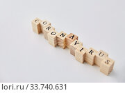Купить «coronavirus word on wooden toy blocks on white», фото № 33740631, снято 9 апреля 2020 г. (c) Syda Productions / Фотобанк Лори