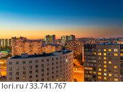 Купить «Beautiful sunset in a Zelenograd residential area of Moscow, Russia», фото № 33741767, снято 29 августа 2019 г. (c) Володина Ольга / Фотобанк Лори