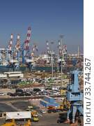 Купить «Four-link cargo loading crane on dock with parked motor vehicles ready for shipping plus container loading cranes in background, Ashdod Port, Israel.», фото № 33744267, снято 4 октября 2019 г. (c) age Fotostock / Фотобанк Лори