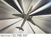 Airplane on divergent rays background. Стоковое фото, фотограф Яков Филимонов / Фотобанк Лори