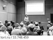 Купить «Business speaker giving a talk at business conference event.», фото № 33748459, снято 24 мая 2020 г. (c) Matej Kastelic / Фотобанк Лори