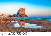 Panoramic view of Calpe beach and Penon de Ifach rock, Valencia, Spain. Стоковое фото, фотограф Zoonar.com/Konstantin Kalishko / easy Fotostock / Фотобанк Лори
