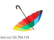 Купить «Colourful umbrella isolated on the white background», фото № 33754115, снято 2 июня 2020 г. (c) easy Fotostock / Фотобанк Лори
