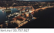 Купить «Evening view of Barceloneta and Port Vell. Barcelona. Spain», видеоролик № 33757927, снято 26 марта 2019 г. (c) Яков Филимонов / Фотобанк Лори