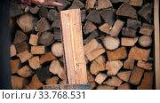 Купить «Chopping wood in half with an ax», видеоролик № 33768531, снято 2 июня 2020 г. (c) Константин Шишкин / Фотобанк Лори