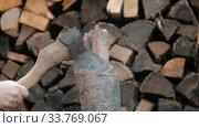 Купить «Chopping wood with an axe in woodpile - axe gets stuck in the log», видеоролик № 33769067, снято 2 июня 2020 г. (c) Константин Шишкин / Фотобанк Лори