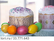 Easter still life with cake and painted eggs. Стоковое фото, фотограф Иванов Алексей / Фотобанк Лори