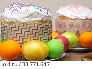 Купить «compilation of Easter cakes and painted multi-colored eggs», фото № 33771647, снято 12 апреля 2020 г. (c) Иванов Алексей / Фотобанк Лори