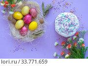 Купить «pattern of Easter eggs in the nest and Easter cake on a purple background», фото № 33771659, снято 12 апреля 2020 г. (c) Иванов Алексей / Фотобанк Лори