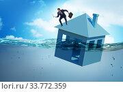Купить «Mortgage repayment failure concept with man», фото № 33772359, снято 11 июля 2020 г. (c) Elnur / Фотобанк Лори