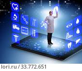 Купить «Telehealth concept with doctor doing remote check-up», фото № 33772651, снято 29 мая 2020 г. (c) Elnur / Фотобанк Лори