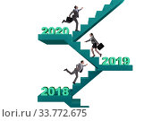 Купить «Businessman climbing stairs on yearly basis», фото № 33772675, снято 16 мая 2020 г. (c) Elnur / Фотобанк Лори