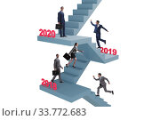 Купить «Businessman climbing stairs on yearly basis», фото № 33772683, снято 21 мая 2020 г. (c) Elnur / Фотобанк Лори