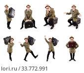 Купить «Young man with briefcase isolated on white», фото № 33772991, снято 27 октября 2013 г. (c) Elnur / Фотобанк Лори
