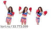 Купить «Woman boxer in uniform with US symbols», фото № 33773099, снято 14 июня 2013 г. (c) Elnur / Фотобанк Лори