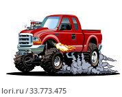 Купить «Vector Cartoon 4x4 pickup isolated», иллюстрация № 33773475 (c) Александр Володин / Фотобанк Лори