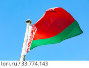 Купить «National flag of Belarus waving in the wind against the sky», фото № 33774143, снято 7 сентября 2019 г. (c) FotograFF / Фотобанк Лори