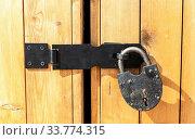 Купить «Massive wooden gate with padlock», фото № 33774315, снято 23 августа 2019 г. (c) FotograFF / Фотобанк Лори