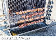Grilled appetizing kebab cooking on metal skewers. Стоковое фото, фотограф FotograFF / Фотобанк Лори